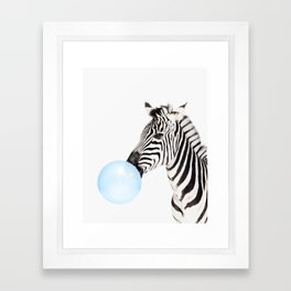Zebra, Bubble gum, Blue, Animal, Nursery, Minimal, Trendy decor, Interior, Wall art Framed Art Print