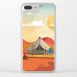 Wild Camping Autumn Landscape Clear iPhone Case