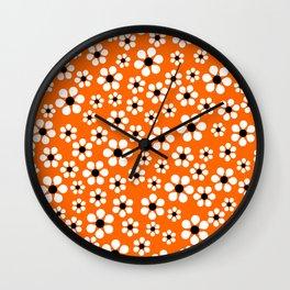 Dizzy Daisies - Orange Wall Clock