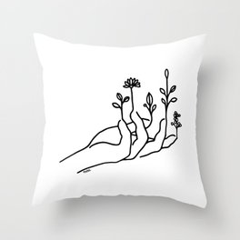 Bloom hand Throw Pillow