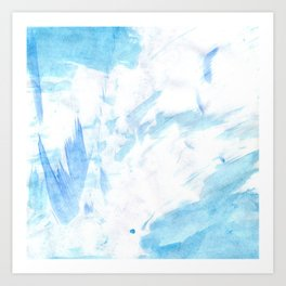 Abstract blush blue white watercolor brushstrokes pattern Art Print