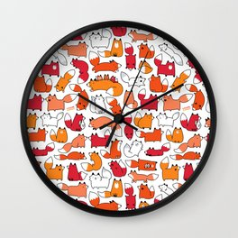 Foxy Foxes Doodle Wall Clock