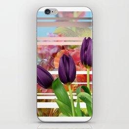 Flower Garden & Purple Tulips Stripes Collage iPhone Skin