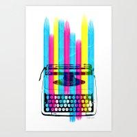 typewriter Art Prints featuring Typewriter by Elizabeth Cakovan