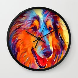 Collie Watercolor Wall Clock