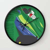 f1 Wall Clocks featuring MINIMAL F1 COLLECTION - JORDAN 191 by Daniele Sanfilippo