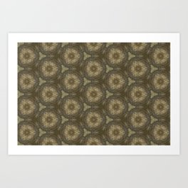 Brown Ancient Circles Pattern Art Print