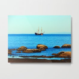 Spanish Galeon by the Rocks Metal Print