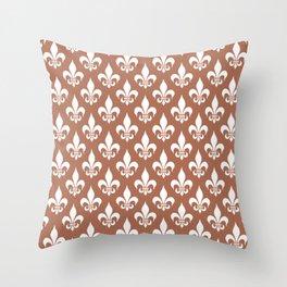 Fleur-de-Lis Pattern: Red Brown Throw Pillow