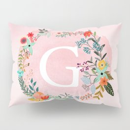 Flower Wreath with Personalized Monogram Initial Letter G on Pink Watercolor Paper Texture Artwork Pillow Sham