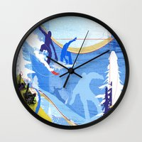 snowboarding Wall Clocks featuring Snowboarding by Robin Curtiss