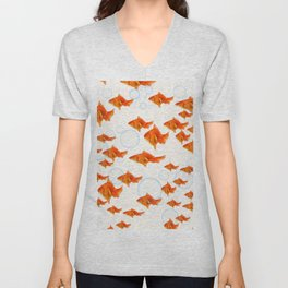 ABSTRACT GOLD FISH SWIMMING ART  DESIGN Unisex V-Neck