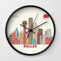 dallas Wall Clocks featuring dallas skyline  by bri.buckley