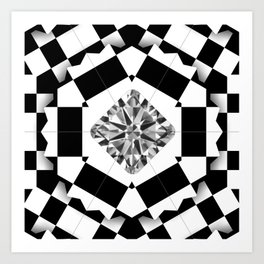 Carre Diamond in Black&White Box Art Print