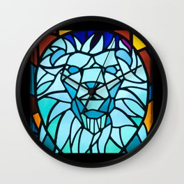 Lion- Strong Stained Glass Image Wall Clock