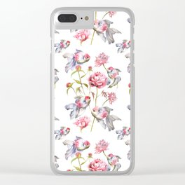Blush Pink Peony Flowers with Fish Design Clear iPhone Case