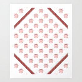 Marsala Art Deco Geometric Pattern Art Print