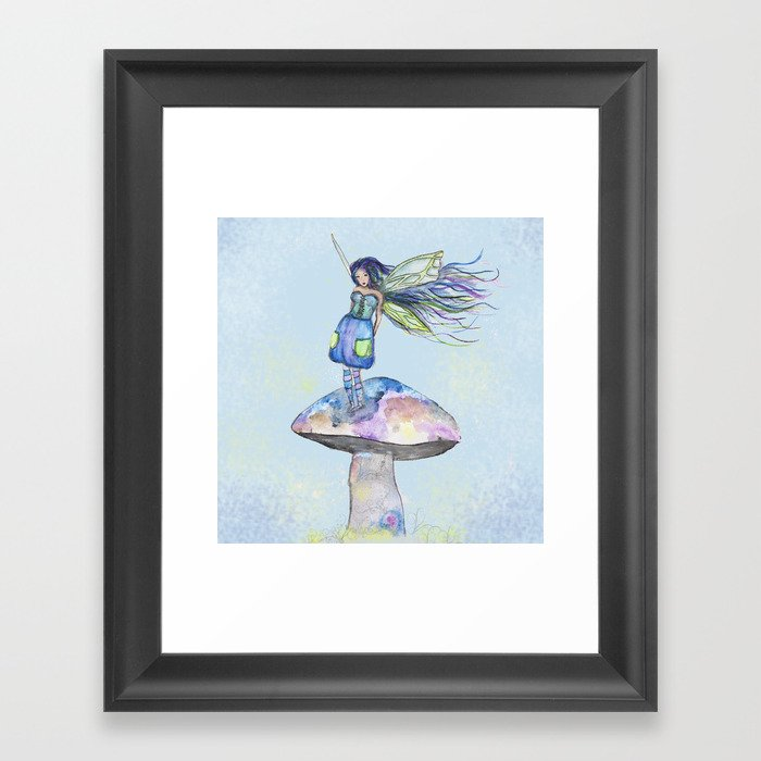 Tiny Fairy of a Mushroom by Washington Artist Heather Saulsbury  Framed Art Print