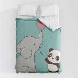 Kawaii Cute Elephant and Panda Comforters