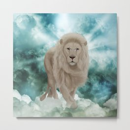 Awesome white lion in the sky Metal Print