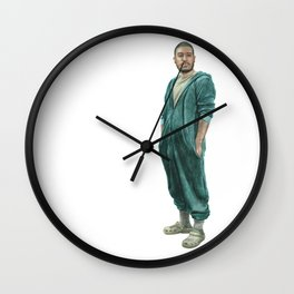 Self-Portrait In Pajamas Wall Clock