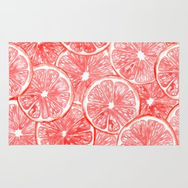 Watercolor grapefruit slices pattern Rug