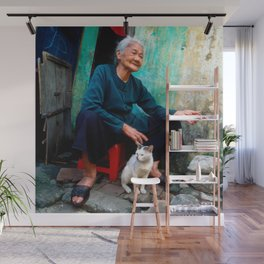 Vietnamese Woman with White Cat Wall Mural
