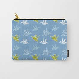 Blue Green Origami Crane Japanese Kimono Pattern Carry-All Pouch