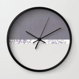 Mauve Gray Floral stripe pattern Wall Clock