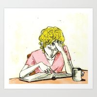 les mis Art Prints featuring Enjolras studying Les Mis by Pruoviare