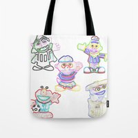 sesame street Tote Bags featuring Sesame Street  by Beastie Toyz