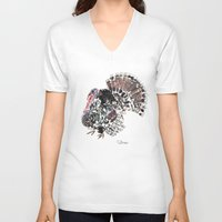 turkey V-neck T-shirts featuring Turkey by Elena Sandovici