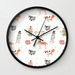 Cute Christmas Woodland Animals Wall Clock