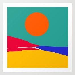 Minimal Illustration Seaside Landscape in the Sunset  Art Print