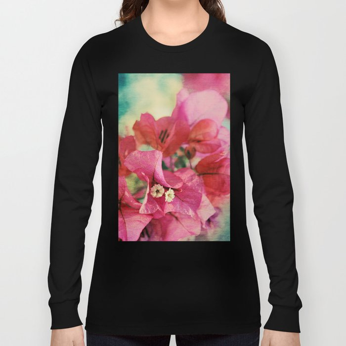 Vintage Bougainvillea Flowers in pink & green with textures Long Sleeve T-shirt