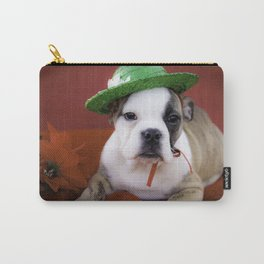 Christmas Bulldog Puppy Wearing a Green Hat Surrounded by Red Decorations Carry-All Pouch