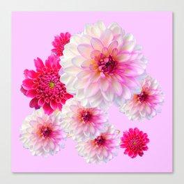 FUCHSIA CERISE-WHITE DAHLIA FLOWERS GARDEN ART Canvas Print