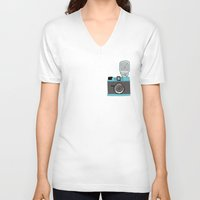 cameras V-neck T-shirts featuring Cameras by Josh Ross