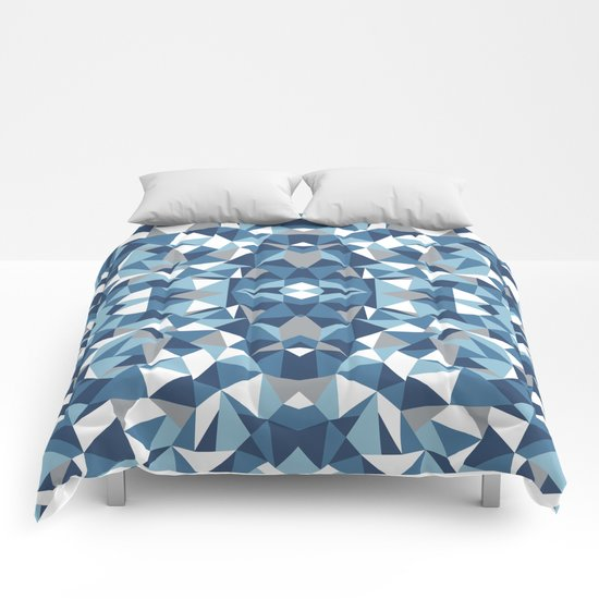 Abstract Collide Blues Comforters