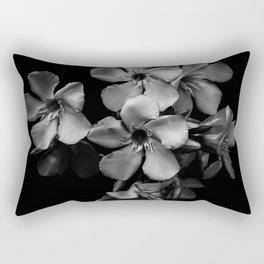 Oleander flowers in black and white Rectangular Pillow