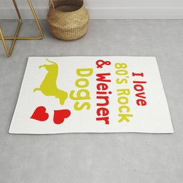 Funny & Cute Weiner Tshirt Designs I love 80s rock and weiner dogs Rug