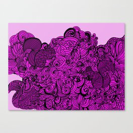 Squirrels Zentangle Drawing Pink Canvas Print
