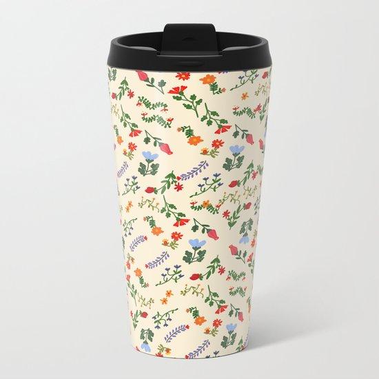 Bright Vintage Flower Pattern Metal Travel Mug