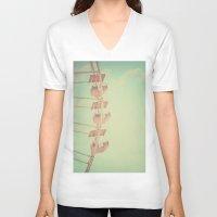 ferris wheel V-neck T-shirts featuring Pink Ferris Wheel by Scarlett Ella