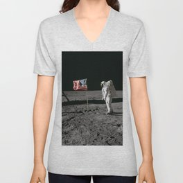 Astronaut Edwin E Aldrin Jr beside the deployed United States flag during an Apollo 11 extravehicular activity on the lunar surface Unisex V-Neck