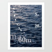 Average Diving Depth - The Penguins of Manly, Australia - A Typographic Exploration Art Print