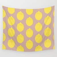 lemon Wall Tapestries featuring Lemon by Grace