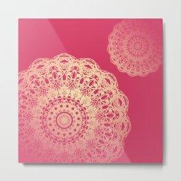 Mandala Flower Pink Cream -  I Metal Print