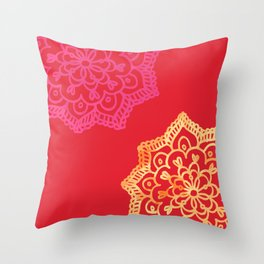 Happy bright lace flower - red Throw Pillow