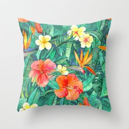 Classic Tropical Garden Throw Pillow